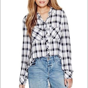 GUESS Plaid Button Up Blouse